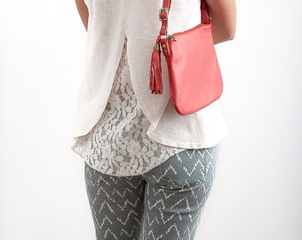 FREE SHIPPING Genuine leather cross body red bag with tassel / red pursue