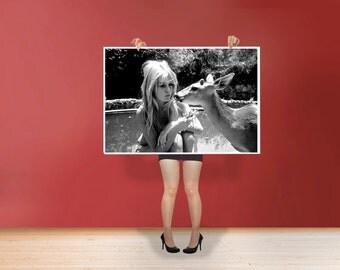 Brigitte Bardot With Deer - Classic Art Print Poster Cotton Matt Canvas Wall Art - French former actress, singer and fashion model Photo