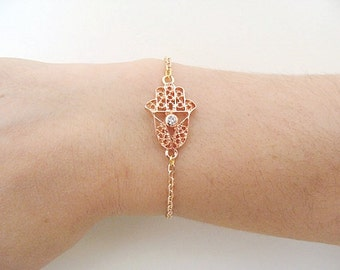Tiny Hamsa Bracelet rose gold color, Rose Gold bracelet, Rose gold hamsa hand bracelet, hamsa bracelet, sideways hamsa, rose gold Gold hand