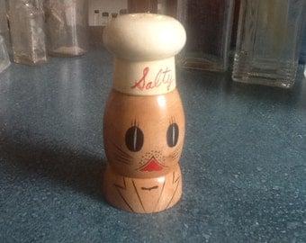 Vintage Salty Kitty Cat Wooden Salt Shaker