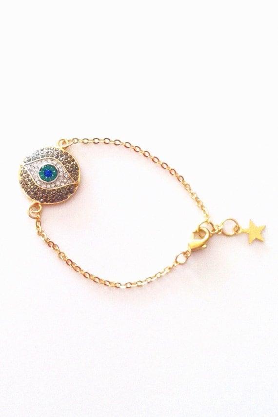 evil eye bracelet charm jewelry crystal by thejoyfuljewelrybox