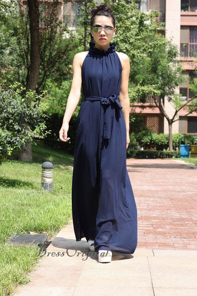 Long navy maxi dress