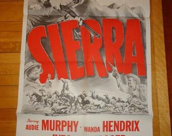 Original 1950 Sierra Military One Sheet Movie Poster Cowboy, Western, Audie Murphy, Wanda Hendrix, Burl Ives, Dean Jagger