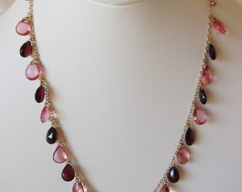 Pink Topaz, Red Garnet, Pearl Handmade Necklace with 14K Gold Chain