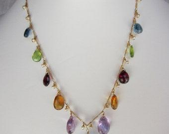 BlueTopaz Pendant, Purple Amethyst, Citrine, Garnet, Peridot, Blue Topaz, Pearl Handmade Rainbow Necklace with 14K Gold  Chain