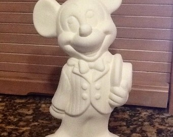 """Mickey Mouse Disney figurine ceramic bisque ready to paint 9"""""""