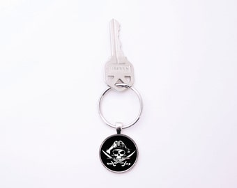 "Pirate Skull & Crossbones, Graphic Pendant Keychain, 1"" Glass Pendant Key Chain, Pirates Argh Skull Crossbones Swords Hat Flag Parley Matey"