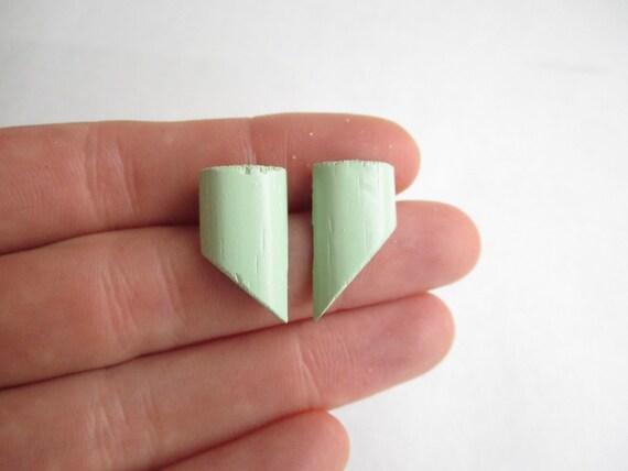 pastel green studs, green earrings, wood earrings, light green