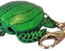 Purse Charms - Green Leather Turtle - Clasp, Keychain Fob - Animal Gifts For Teen Girls Dad Men Mom -Best Seller -Top Selling Shop Item 3048