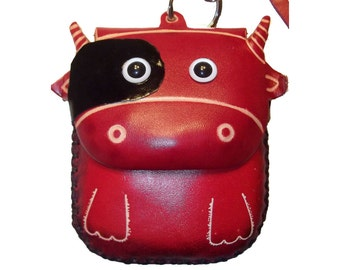 Bull Purse - Ronnie the Bull - Red Leather Bull Coin Purse with Zipper and Wristlet Strap - Item #1140