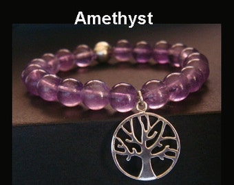 Tree of Life Bracelet with 925 Sterling Silver Tree of Life Pendant Charm and Amethyst Gemstone Beads, Stretch Tree of Life Bracelet TOLB007