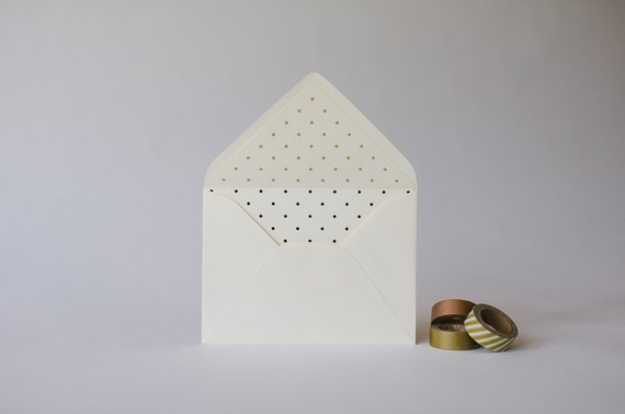 gold foil polka dot lined envelopes  (sets of 10)  // lola louie paperie