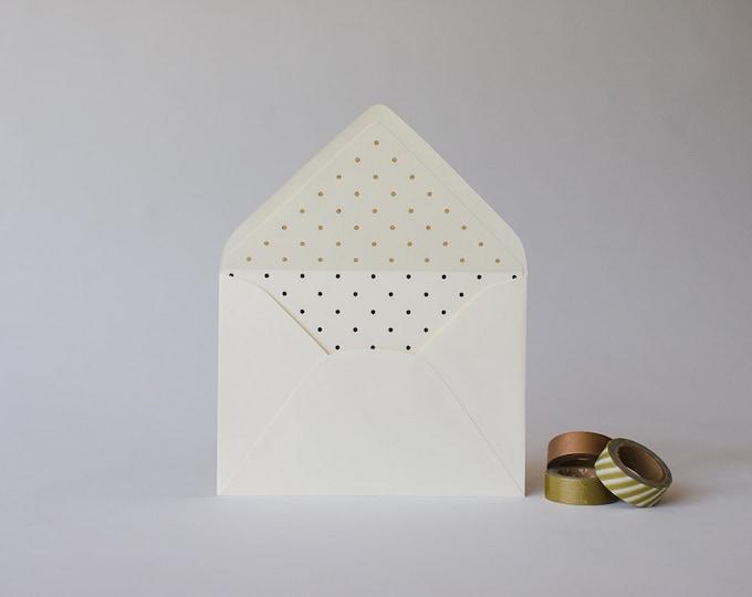 gold foil polka dot lined envelopes  (sets of 10)  // lola louie paperie
