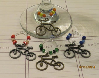 Brass Bicycle Wine Charms - Set of 4