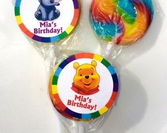 Winnie the Pooh and Heffalump Personalized Mini Lollipops