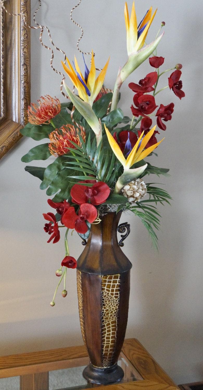 Silk floral arrangement floral decor tropical flowers for Artificial flower vase decoration ideas