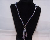 Lariat Y Necklace in Purples & Blues, Gifts for Women