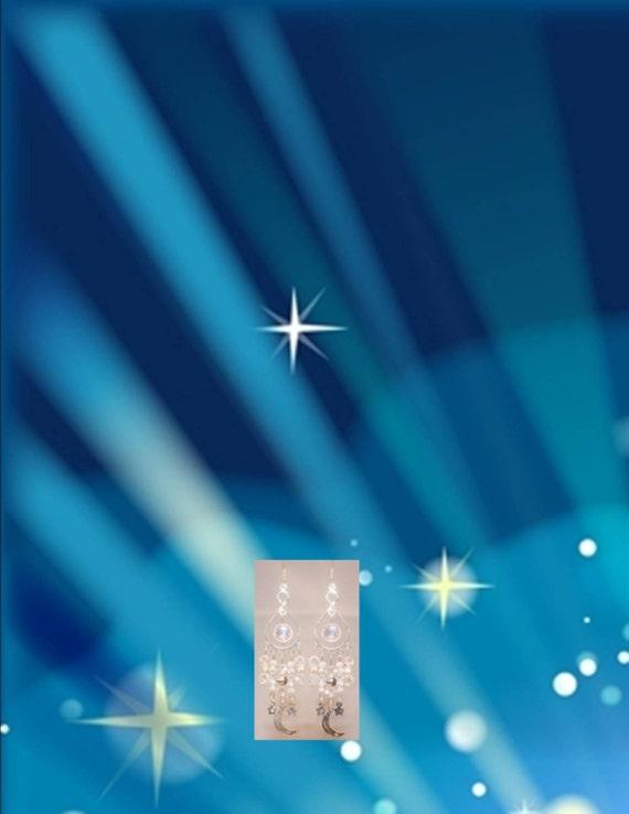 Moon & Stars Swarovski Earrings, Women's Birthday Gifts, Crystal Dangle Chandelier Jewelry