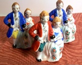 Porcelain Figurines Colonial Dancing Couples Folk People Early Japan Hand Painted