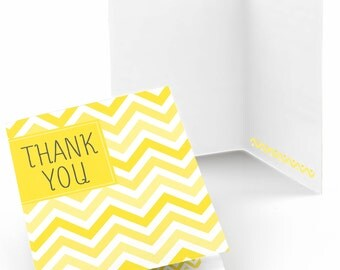 Chevron Yellow Thank You Cards - Baby Shower Thank You Cards - Birthday Thank You's - Bridal Shower Thank You - Set of 8 Folding Note Cards