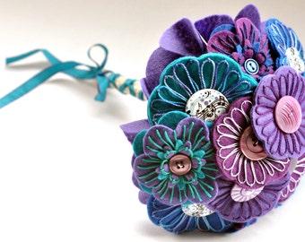 Purple, Blue and Turquoise Bouquet/ Felt Button Bouquet/ Wedding Bouquet/ Birthday Bouquet/ Occasion Bouquet/ Alternative Bouquet