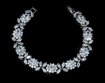 Wedding Bracelet - Bridal Bracelet - Flower Bracelet - Wedding Jewelry - Cubic Zirconia Bracelet - Crystal Bracelet - Bridesmaid - AB0023