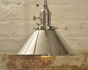 Polished Nickel Cone Shade Industrial Pendant Light Fixture Rustic Vintage Retro