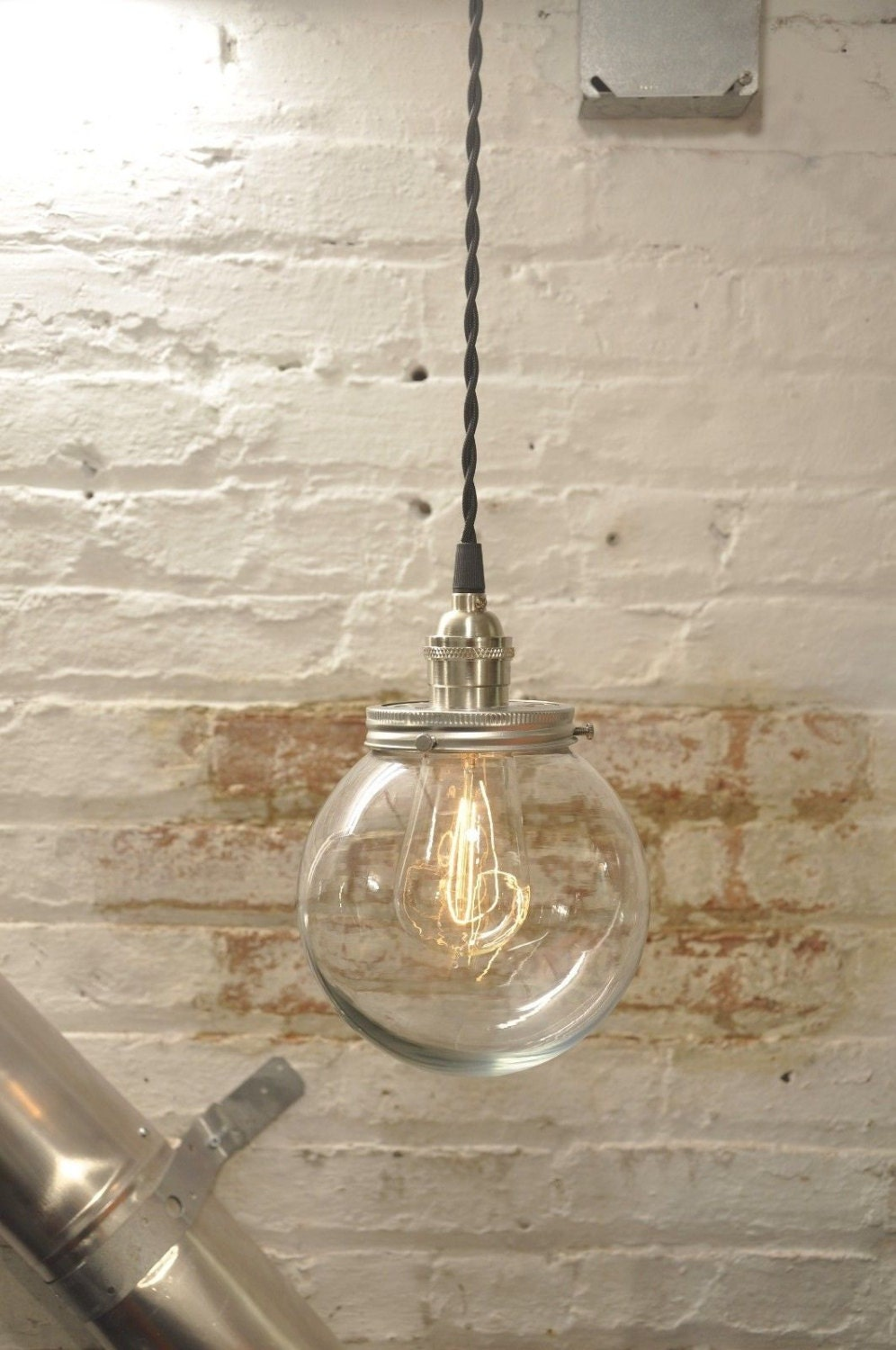 glass globe pendant light fixture twisted wire by wiresnjars
