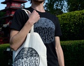 KUMOIID Tote Bag in organic cotton - Linocut print in limited and numbered series