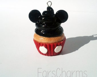 Mickey Mouse Cupcake Charm | Polymer Clay | Disney