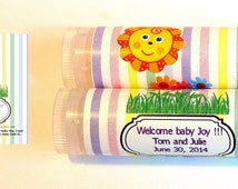 10 Happy Sun Baby shower Lip balm Favors - custom color & flavor, personalized lip balm, flower baby shower favor, lip balm favor, A48