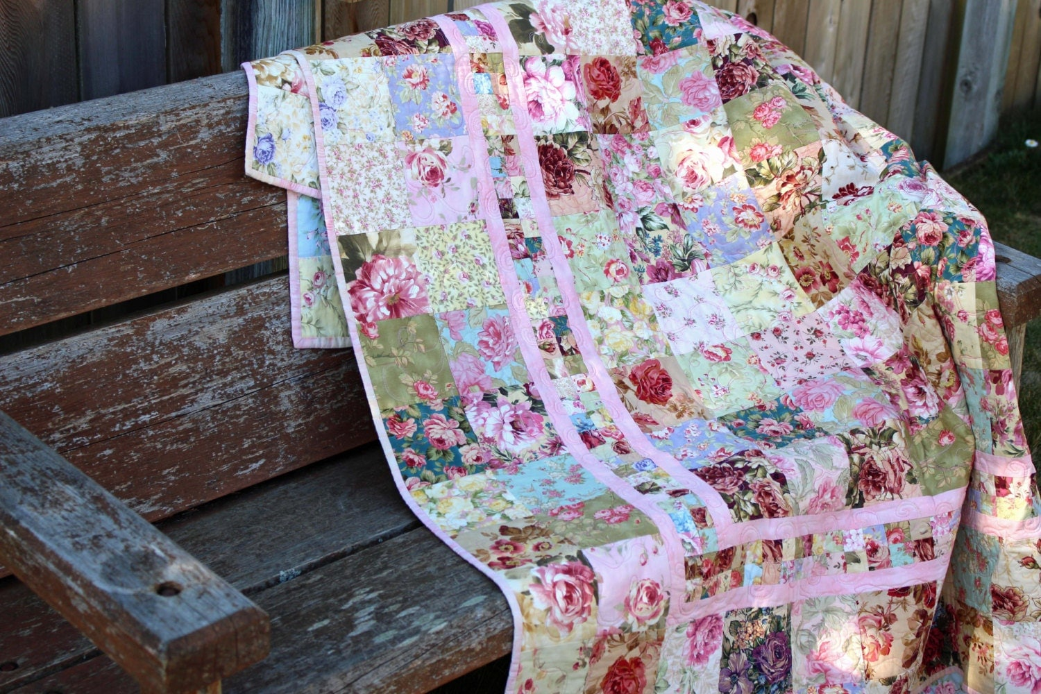 Shabby Chic French Country Rose Quilt Free Shipping
