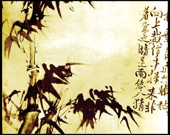 Chinese art, Classical Chinese Painting, Reproduction,HSU WEI - Bamboo, fragment. Asian art, Fine art, Printed copy