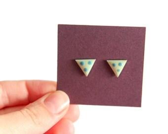 Vintage Blue & Green Triangle Earrings