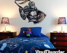 Medieval Knight Wall Decal - Wall Fabric - Vinyl Decal - Removable and Reusable - MedievalKnightUScolor004ET
