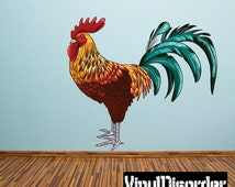 Rooster Wall Decal - Wall Fabric - Vinyl Decal - Removable and Reusable - RoosterUScolor001ET