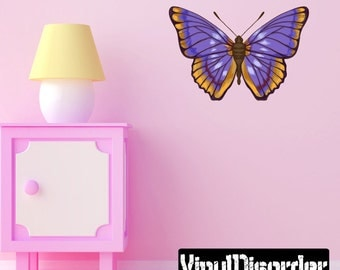 Butterfly Scroll Wall Decal - Wall Fabric - Vinyl Decal - Removable and Reusable - ButterflyUScolor008ET