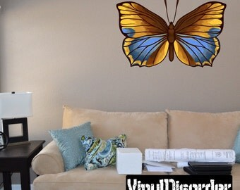 Butterfly Scroll Wall Decal - Wall Fabric - Vinyl Decal - Removable and Reusable - ButterflyUScolor011ET