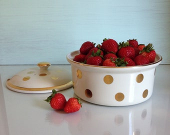 Porcelain Covered Casserole Dish - Vintage Kitchen - Gold Polka Dot - Mid Century Design - Hall - Made in the USA