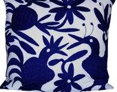 Midnight Blue Otomi Cushion Cover