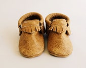 Weathered brown leather Mocc baby/toddler moccasins