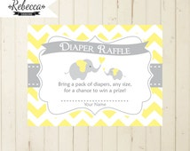 diaper raffle gray and yellow elephant baby shower card matching elephant diaper raffle tickets diaper tickets diapers insert  printable 104