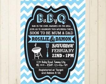 Baby Shower BBQ printable invitation boy baby shower invite bbq invitation chevron invitation digital printable