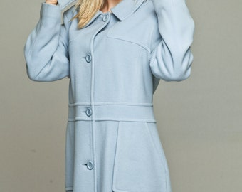 Baby blue coat / Pastel blue coat / Coat with hood / Hoodie / Winter coat / wool cashmere coat / womens outerwear / Detachable hood