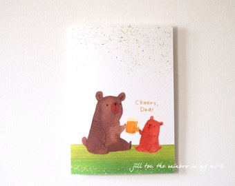 Father's day card, Fathers day card, bear Daddy and bear baby with beer, Thank you Dad card, Cheers Dad card ,Dad birthday card