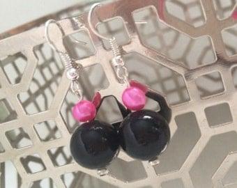 Hot Pink Freshwater Pearl atop Black Glass Pearl Dangle Earrings