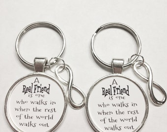 Best Friend Gift, Infinity A Real Friend Walks In When Everyone Else Walks Out Best Friend Partners In Crime Keychain Set