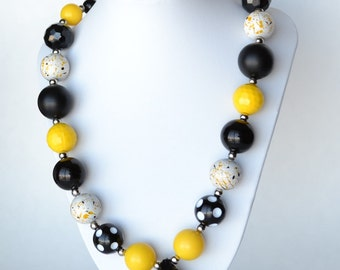 Black & Yellow CHUNKY necklace with acrylic beads, tiger tail stringing, and metal toggle clasp