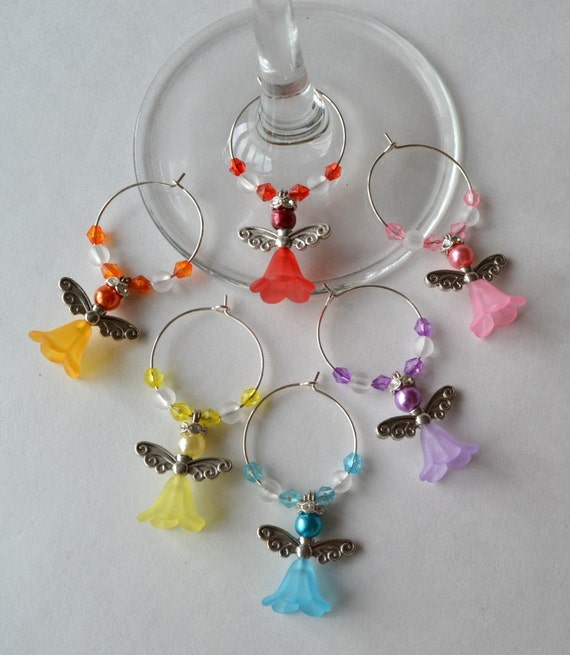 wine charms with acrylic and accents