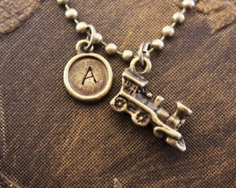 Train Necklace Locomotive Necklace Initial Necklace Personalized Necklace Engraved Necklace Custom Hand Stamped Necklace Conductor Necklace